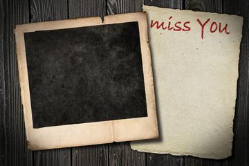 Miss You - Polaroid Zettel Brett