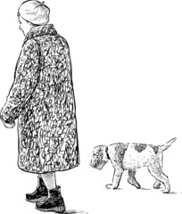 elderly woman and dog on a walk