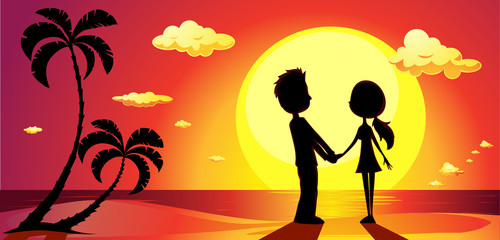 lovers on a beach at sunset - vector banner