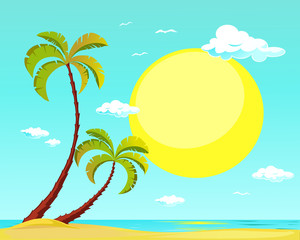 summer beach with palm tree and big sun - vector illustration