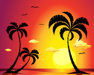 beach with palm trees at sunset - vector