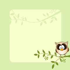 vector frame design with cute owl