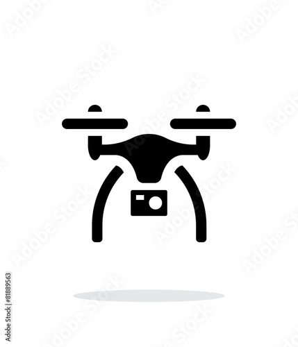 Drone with camera simple icon on white background. - 81889563