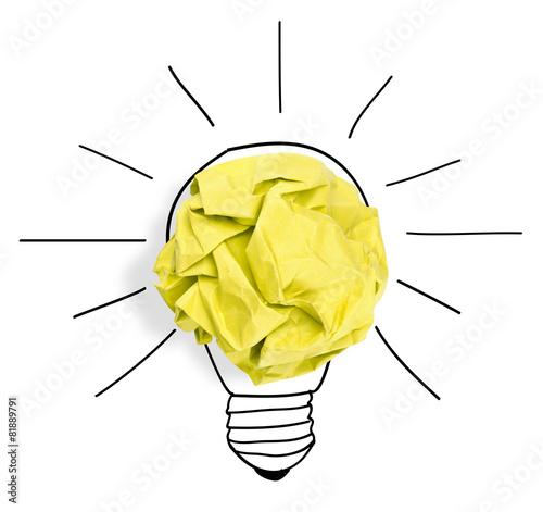 Paper ball forming a lightbulb - 81889791