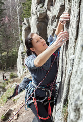 Portrait of a beautiful young female climber.