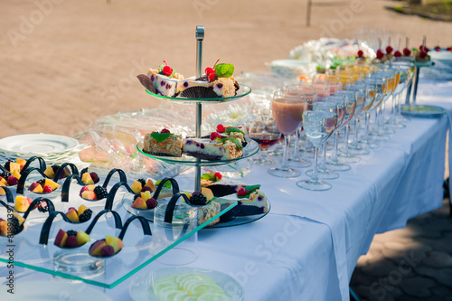 Papiers peints Table preparee a lot of cold snacks on buffet table, catering