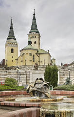 Cathedral of Holy Trinity. Andrej Hlinka square in Zilina