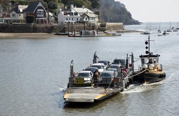 Car and passenger ferry on the River Dart Devon England UK