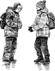 schoolboys talking