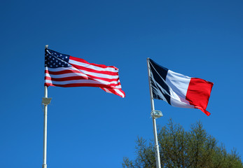 State flags of the United States of America and France
