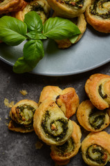 Puff pastry rolls with spinach and greek cheese filling