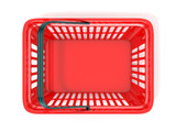 Red shopping basket, top view. 3D rendered illustration