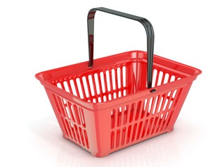 Red shopping basket, side view. 3D rendered illustration