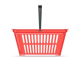 Red shopping basket. 3D rendered illustration. Front view