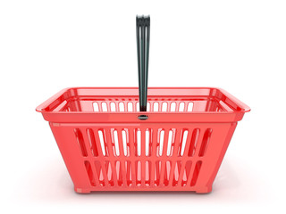 Red shopping basket, front view. 3D rendered illustration