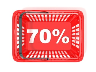 70 percent discount tag in red shopping basket