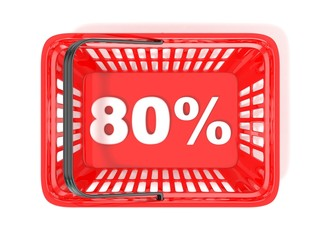 80 percent discount tag in red shopping basket