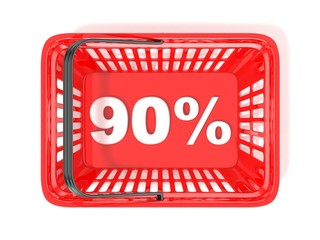 90 percent discount tag in red shopping basket
