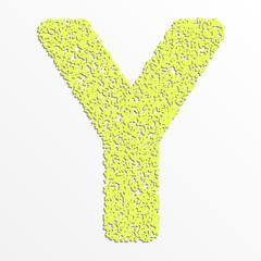 Vector multi color alphabet with grain texture, letter Y