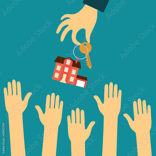 hand real estate agent holding holds a key with a tag in the - 81892390