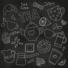Doodle set of tea and coffee cups, and sweets on the blackboard