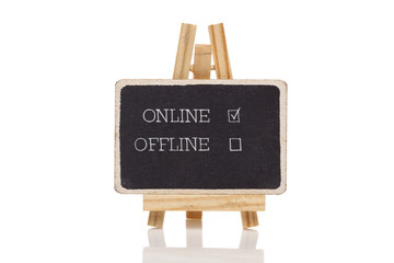 Online handwritten with white chalk on a blackboard