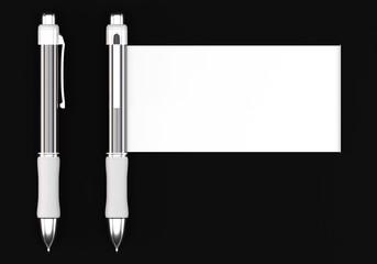 White ball pens with banner mockups on dark background