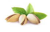 Pistachio nuts with leaves.