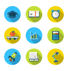 Flat icons of elements and objects for high school and college e