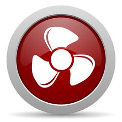 fan red glossy web icon