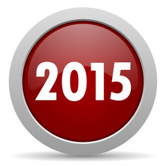new year 2015 red glossy web icon