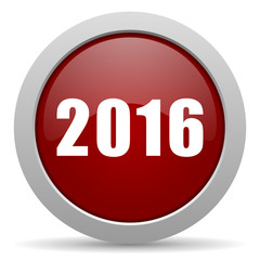 year 2016 red glossy web icon