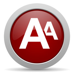 alphabet red glossy web icon