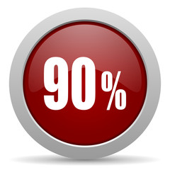 90 percent red glossy web icon