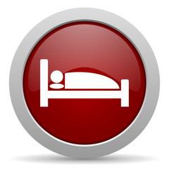 hotel red glossy web icon