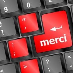 thank you (merci) word on computer keyboard key vector