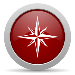 compass red glossy web icon