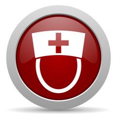 nurse red glossy web icon