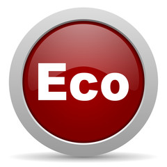 eco red glossy web icon