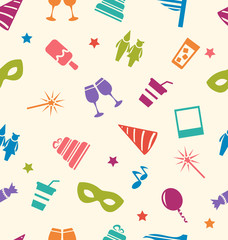 Seamless Pattern of Party Colorful Icons, Wallpaper for Holidays