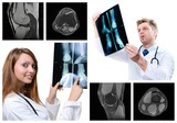 collage of medical imaging with beautiful young doctors