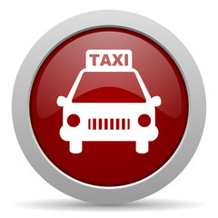 taxi red glossy web icon