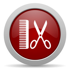 barber red glossy web icon
