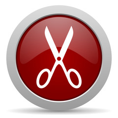 scissors red glossy web icon