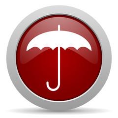 umbrella red glossy web icon