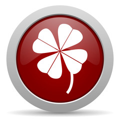 four-leaf clover red glossy web icon