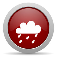 rain red glossy web icon
