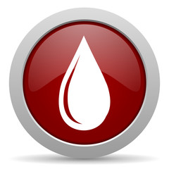 water drop red glossy web icon