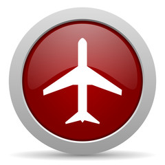 plane red glossy web icon