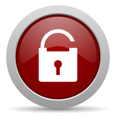 padlock red glossy web icon